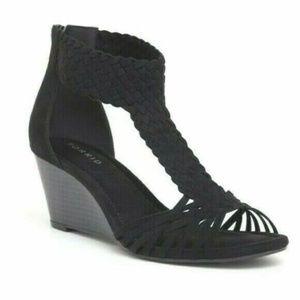 Torrid 9 11 12 Wide Sandals Wedge Braided T-Strap